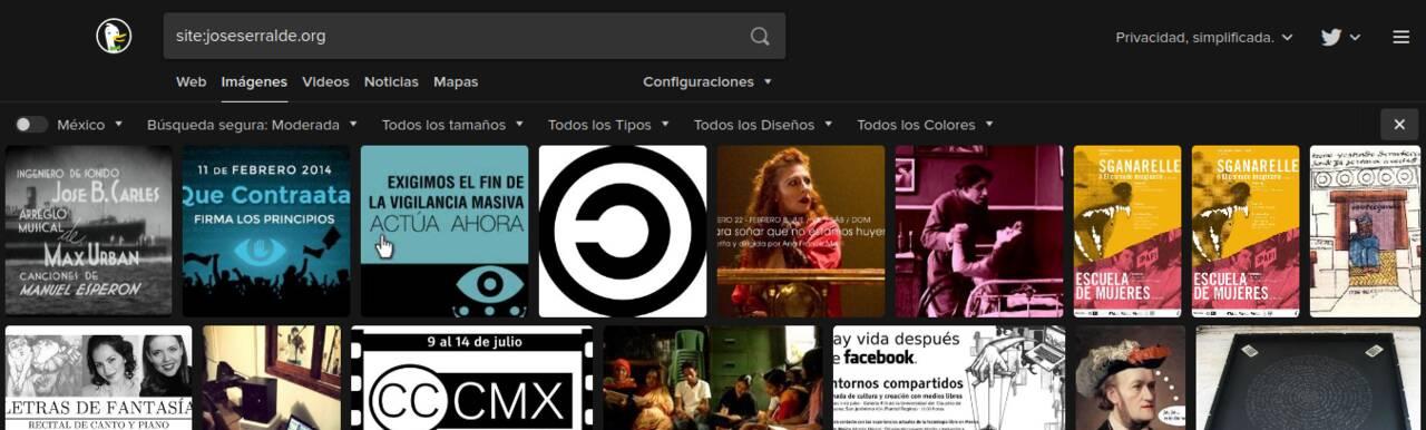 Imágenes de joseserralde.org en una búsqueda en DuckDuckGo