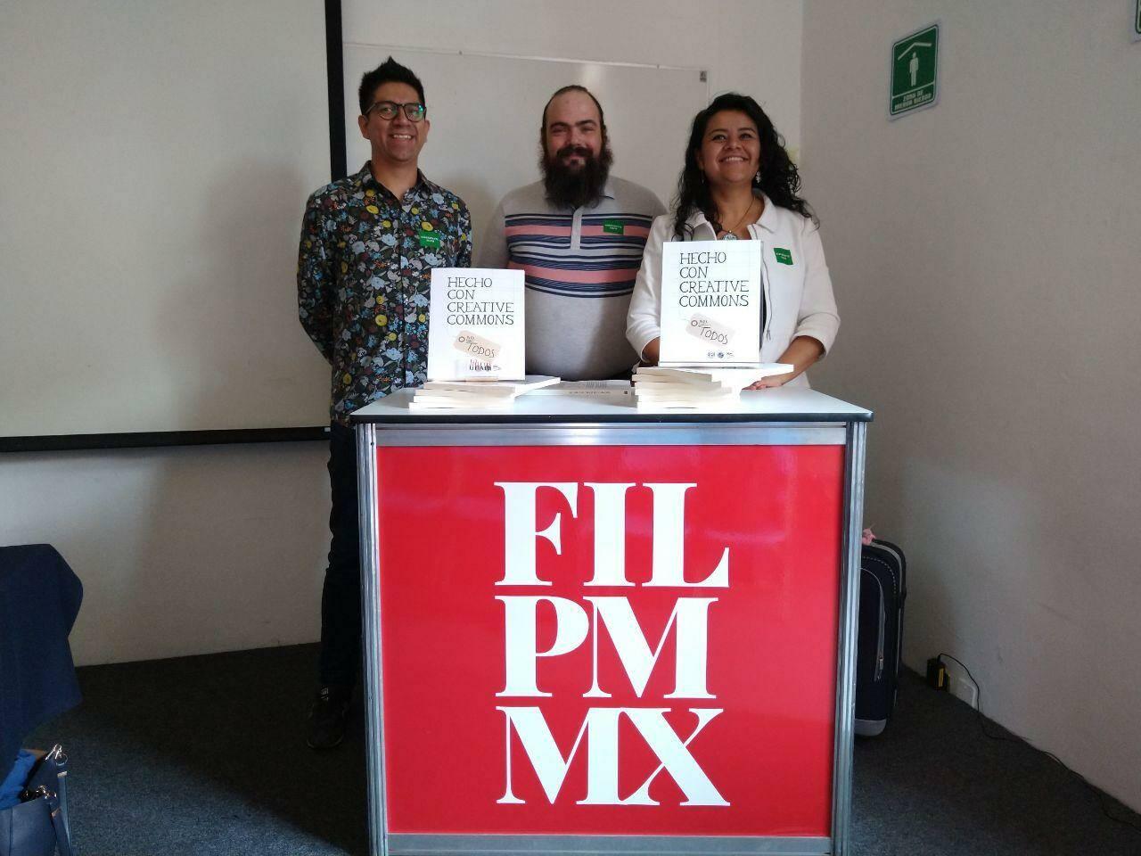 Iván Martínez, Gunnar Wolf and Irene Soria, del Capítulo Creative Commons Mexico
