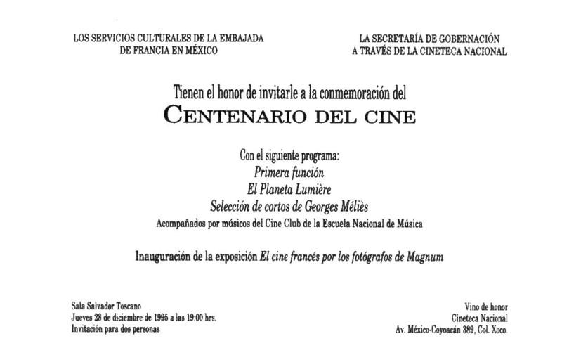 """La invitación que Cineteca Nacional envió, con un fotogramos de """"La llegada del tren"""" a sus invitados selectos para aquella función."""